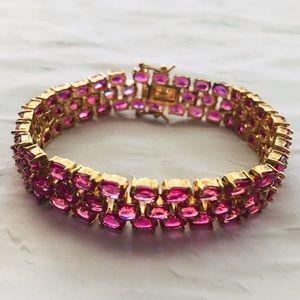 Jewelry - Pink Rhinestone Tennis Bracelet UTC 925 Gold Plate